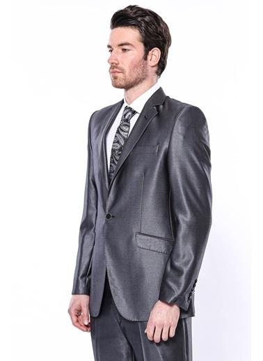 Wessi Erkek Parlak Mono Yaka Slim Fit Takım Elbise Füme